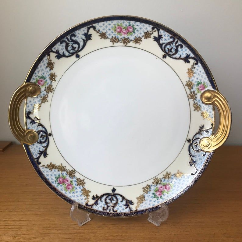 Nippon Japan Serving Plate, Gold Roses Dark Blue Garland Swags Serving Tray, Fine Porcelain China Dish