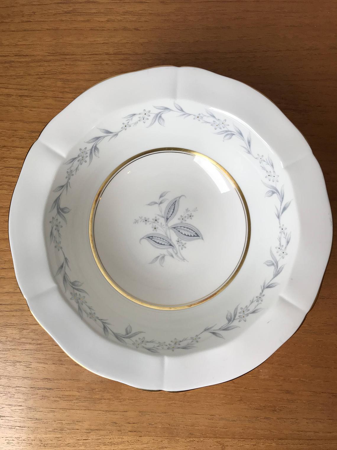 "Vintage Northumbria ""Morning Mist"" Serving Bowl, Light Blue Grey Leaves Gold Accents Bone China Vegetable Dish"