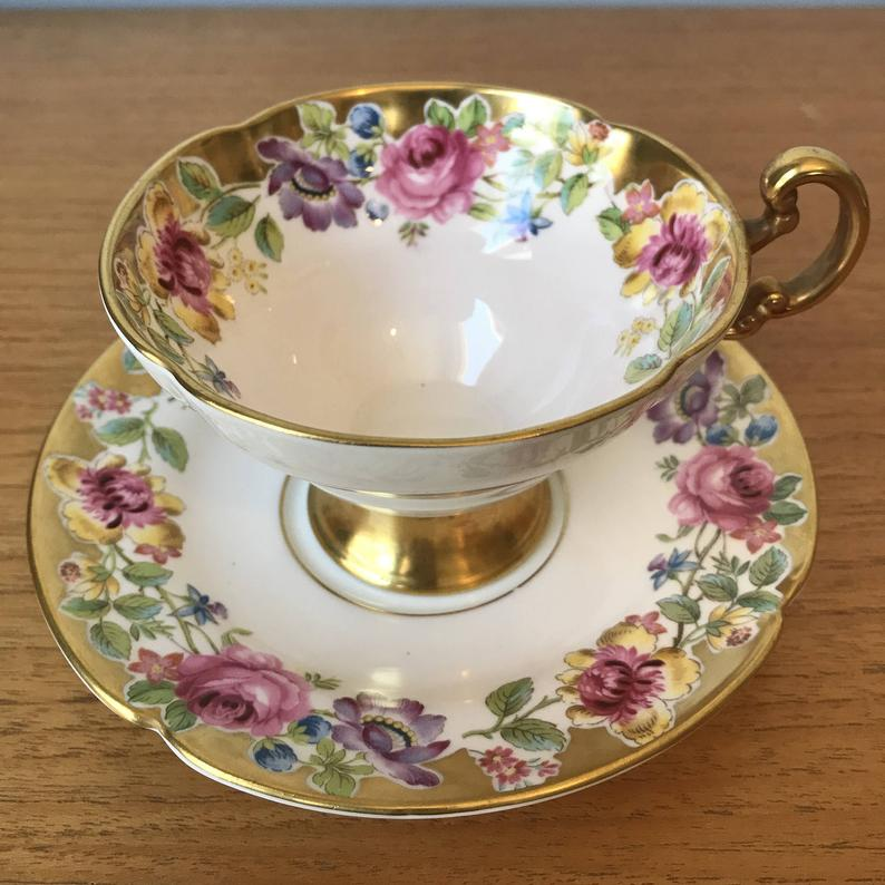 Old Royal Swansea Vintage Teacup and Saucer, Gold Border Pretty Flowers Bone China Tea Cup and Saucer, Floral English Tea Party