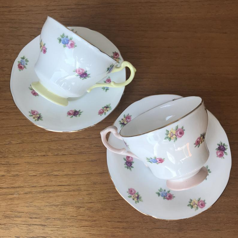Pair of Paragon Teacups and Saucers, Floral Pink and Yellow Tea Cups and Saucers, Vintage English Bone China