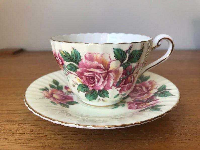 Pale Yellow Paragon Tea Cup and Saucer, Pink Rose Teacup and Saucer, Vintage Bone China