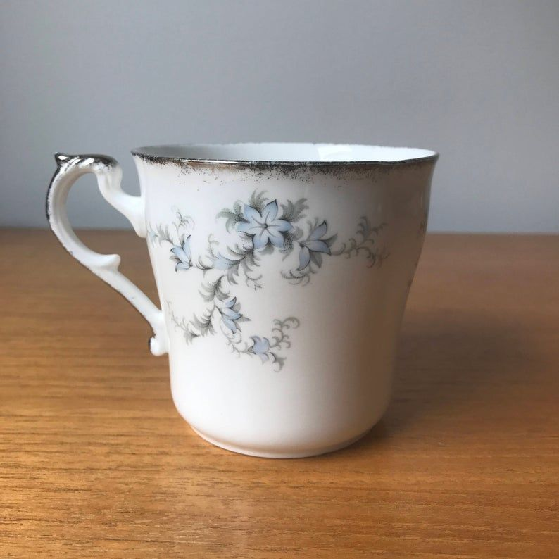 Paragon Brides Choice Vintage Coffee Cup, Light Blue Flowers Grey Leaves Silver Trim Coffee Mug, Bone China Gift