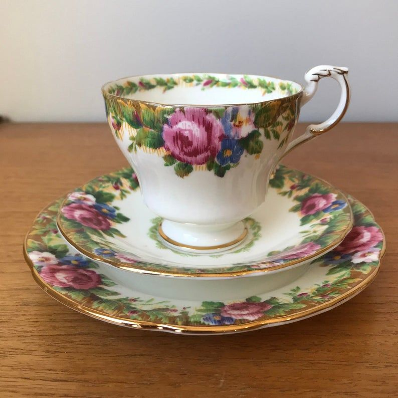 Paragon China Trio, Tapestry Rose Tea Cup Saucer and Plate set, Floral Teacup Saucer and Bread and Butter Plate