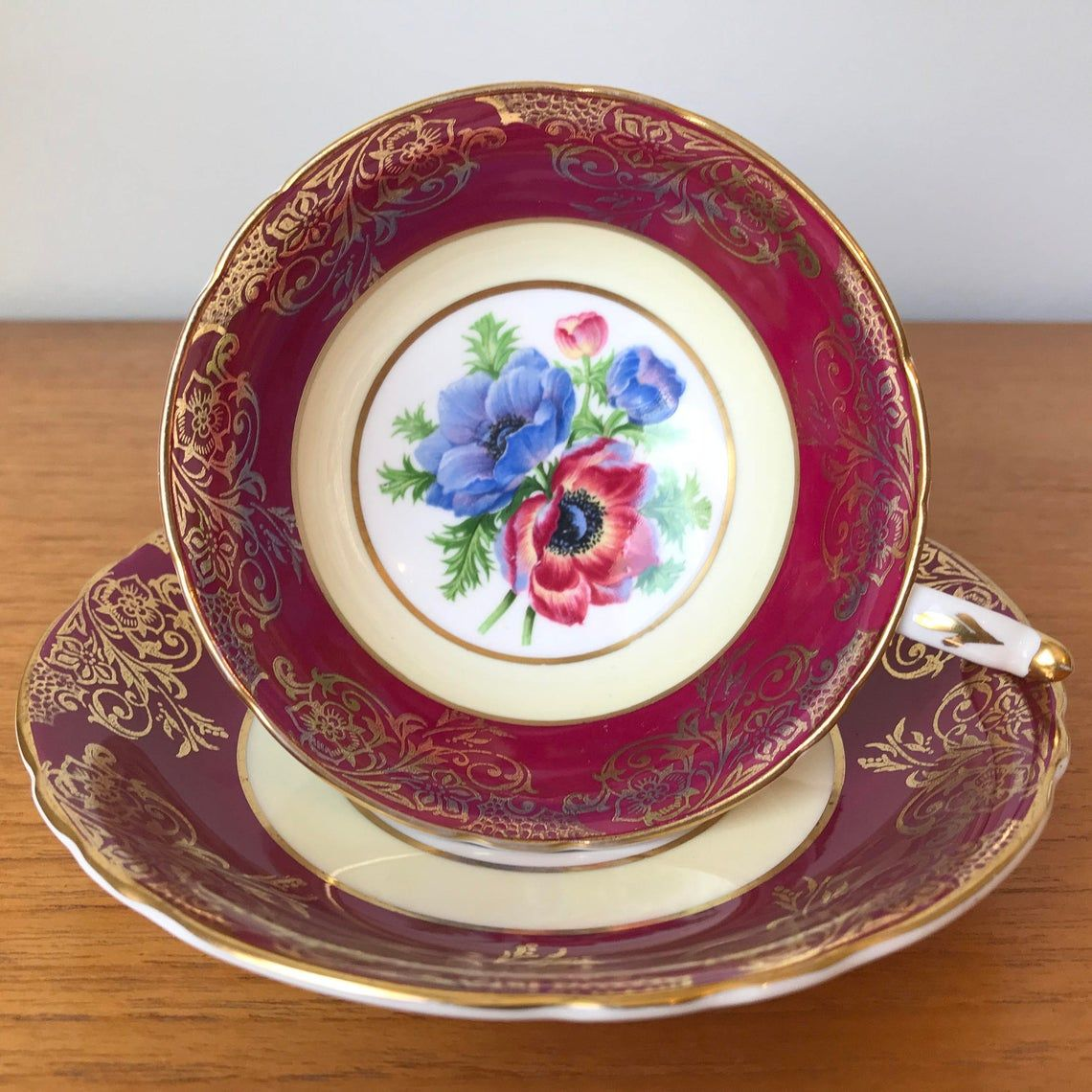 Paragon Dark Pink and Gold Teacup and Saucer, Red and Blue Anemone Poppy Tea Cup and Saucer, Bone China