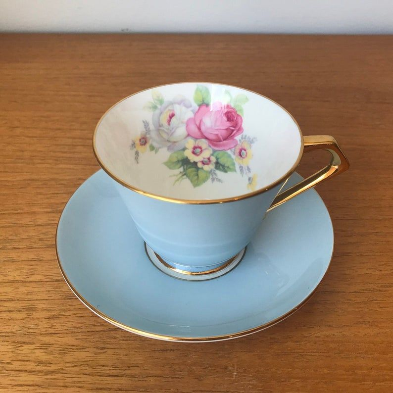 Paragon Floral Tea Cup and Saucer, Blue - Grey Teacup and Saucer, Pink and White Rose Fine Bone China