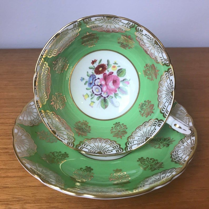 Paragon Green Teacup and Saucer, Gold Fans Swags, Floral Centres Vintage Tea Cup and Saucer, Bone China, 1960s