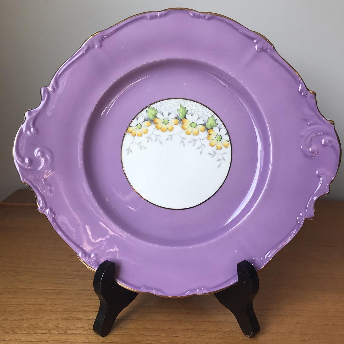 Paragon Margot Purple Serving Tray, Bone China Yellow Floral Vintage Tray, Embossed Swirl Tab Handles