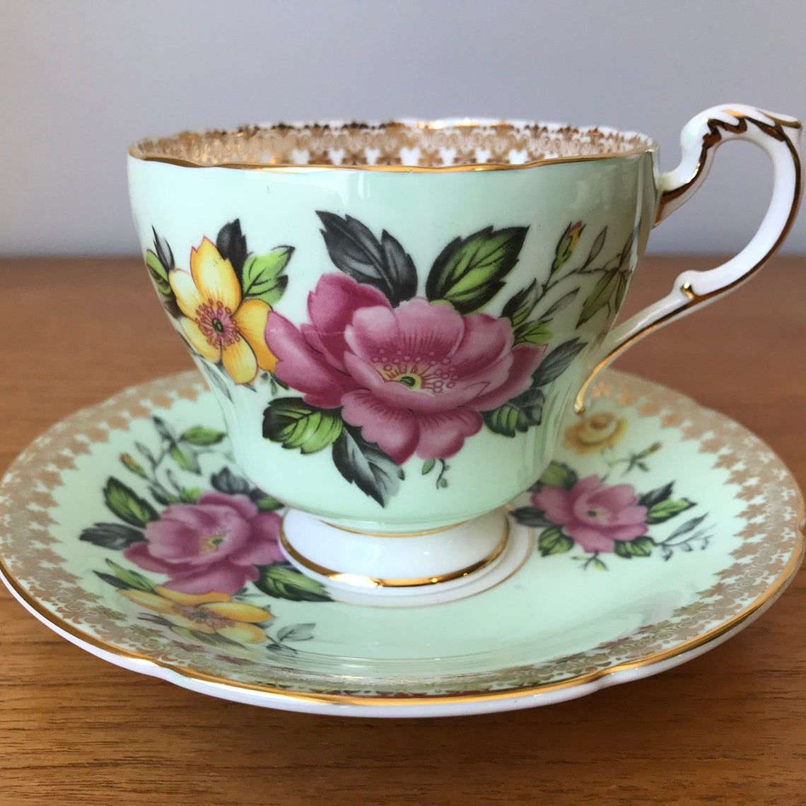 Paragon Mint Green Teacup and Saucer, Pink and Yellow Flower Tea Cup and Saucer, Vintage Bone China