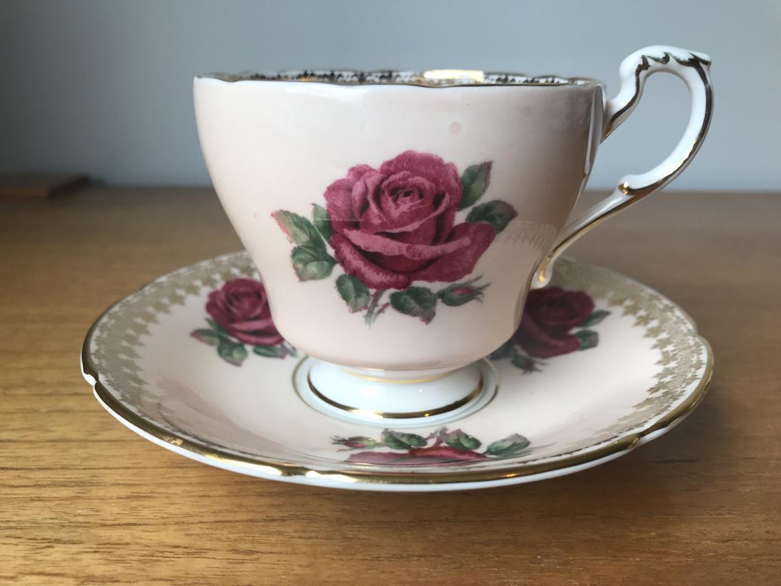 Paragon Peach Vintage Tea Cup and Saucer, Dark Pink Roses Teacup and Saucer, English Bone China, Gold Trim