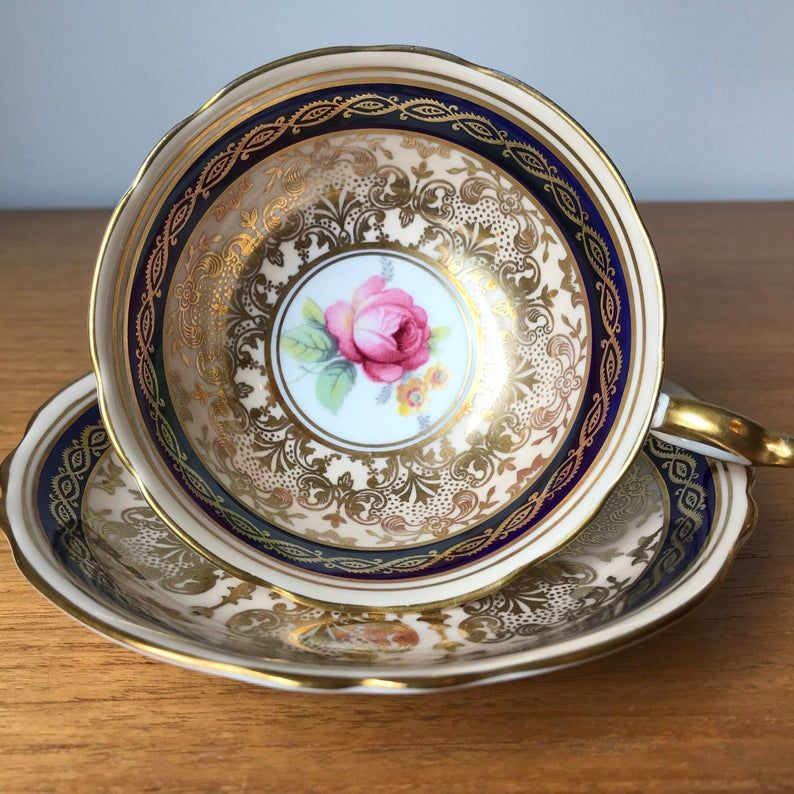 Paragon Pink Roses, Vintage Teacup and Saucer, Cobalt Blue, Peach, Gold Tea Cup and Saucer, English Floral Bone China
