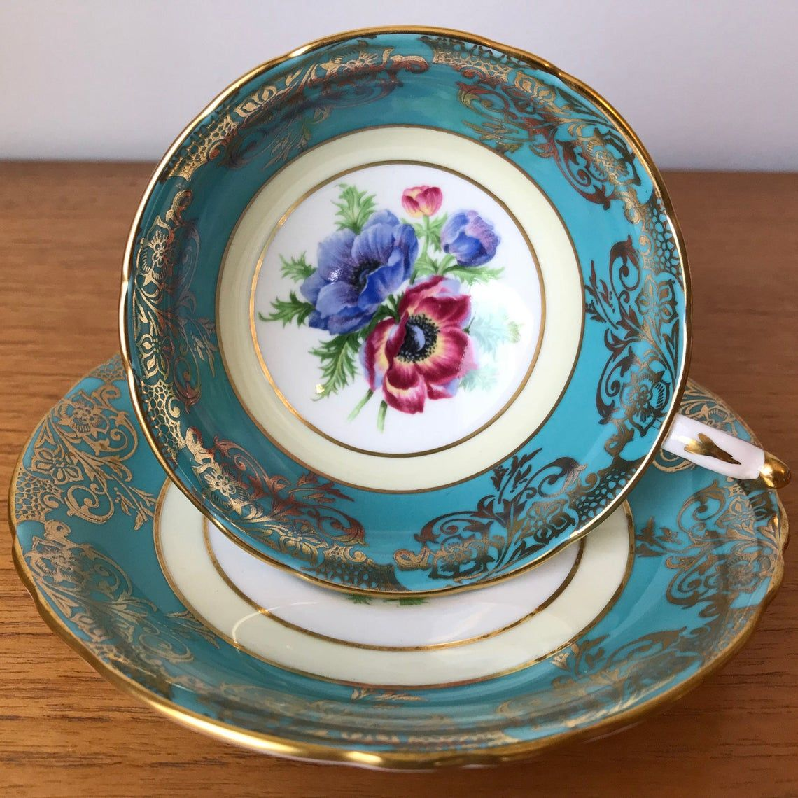 Paragon Poppy Tea Cup and Saucer, Anemones Tea Cup and Saucer, Turquoise and Gold Floral Bone China