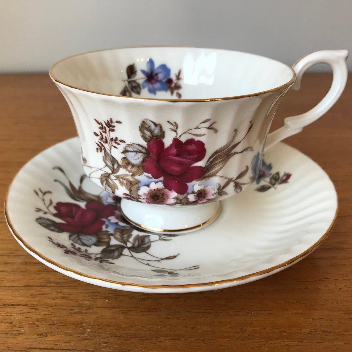 Paragon Rose Tea Cup and Saucer, Dark Pink and Blue Floral Bone China Teacup and Saucer
