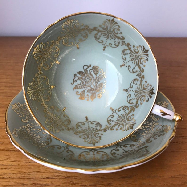 Paragon Sage Green and Gold Tea Cup and Saucer, Vintage Bone China Teacup and Saucer, Gold Medallion, Tea Party, Birthday Gift