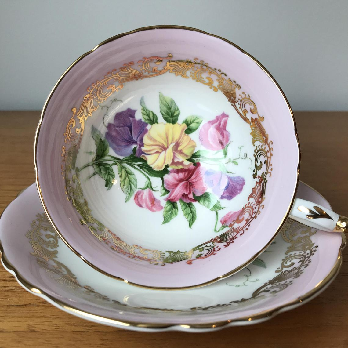 Paragon Sweet Pea Teacup and Saucer, Vintage Bone China Pink and Gold Floral Tea Cup and Saucer