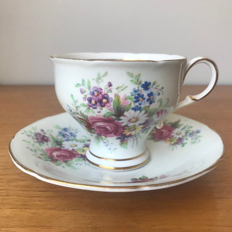 Paragon Tea Cup and Saucer, Pale Blue Teacup and Saucer, Colourful Floral Bone China, Tea Party Collectibles