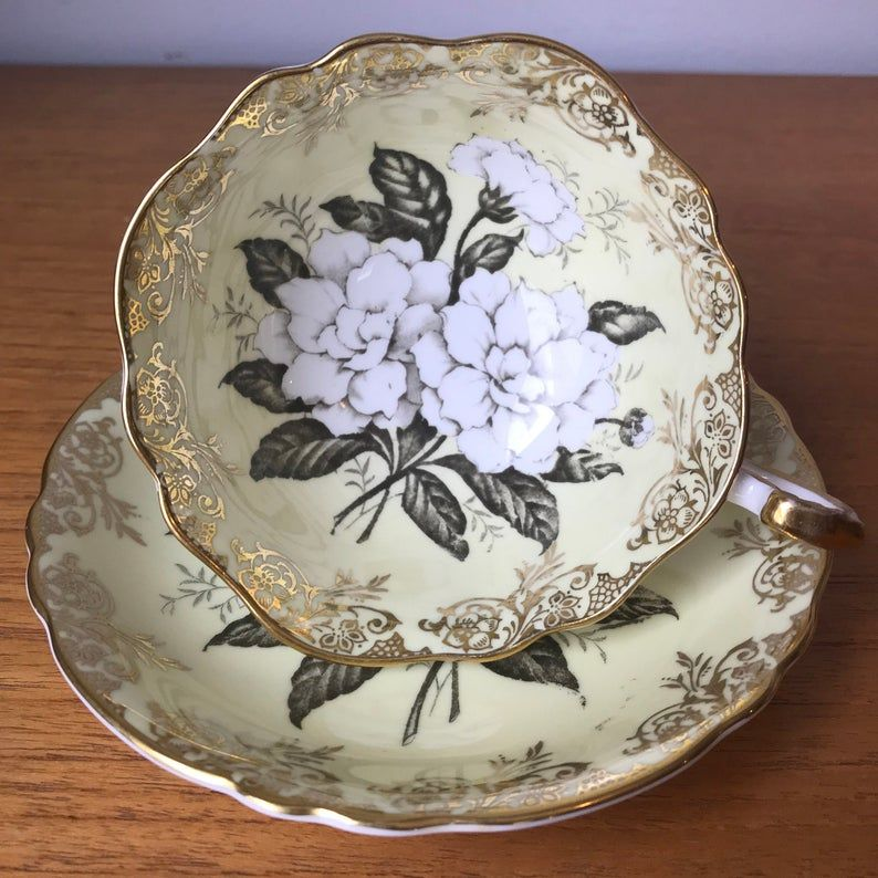 Paragon Tea Cup and Saucer, Large White Gardenia Flower Yellow Teacup and Saucer, Fine Bone China