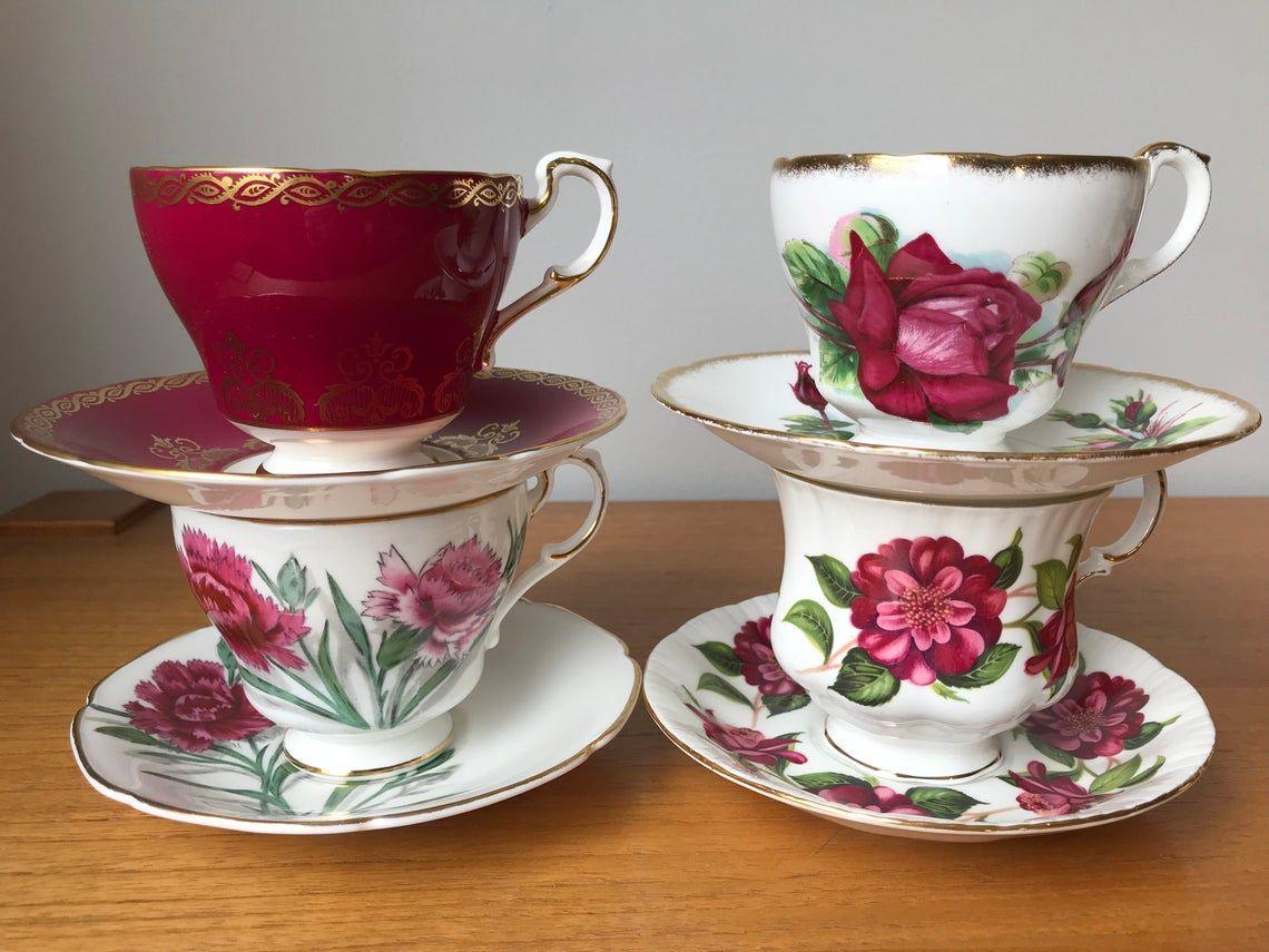 Paragon Tea Set, Dark Pink Floral Teacups and Saucers, Vintage Bone China Tea Cups and Saucers