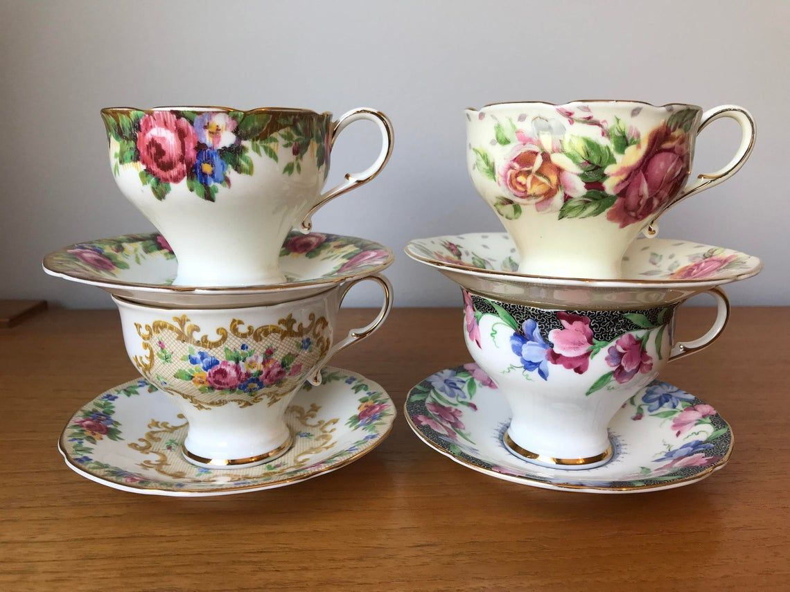 Paragon Tea Set, Vintage Mismatched Floral Teacups and Saucers, Corset Shape Tea Cups and Saucers, Bone China