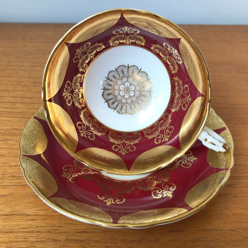 Paragon Vintage Teacup and Saucer, Deep Red & Gold Swag Tea Cup and Saucer, Gold Medallion Centre English Bone China, Elegant Fancy set