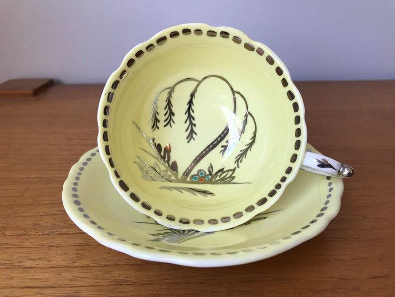 Paragon Yellow and Silver Vintage Teacup and Saucer, Tree and Flower Tea Cup and Saucer, Hand Painted Floral English Bone China