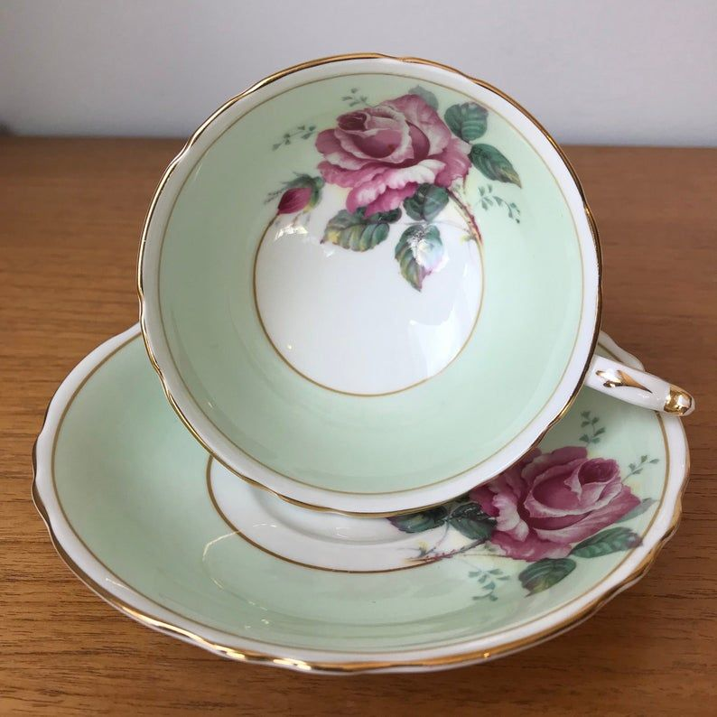 Pastel Green Paragon Tea Cup and Saucer, Large Pink Rose Teacup and Saucer, Bone China Double Warrant