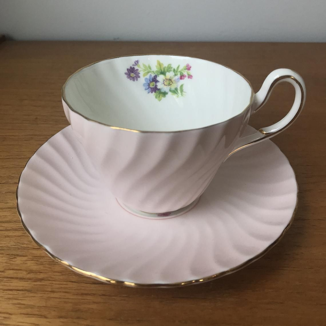 Pastel Pink Tea Cup and Saucer, English E B Foley Teacup and Saucer, Swirl Shape Bone China