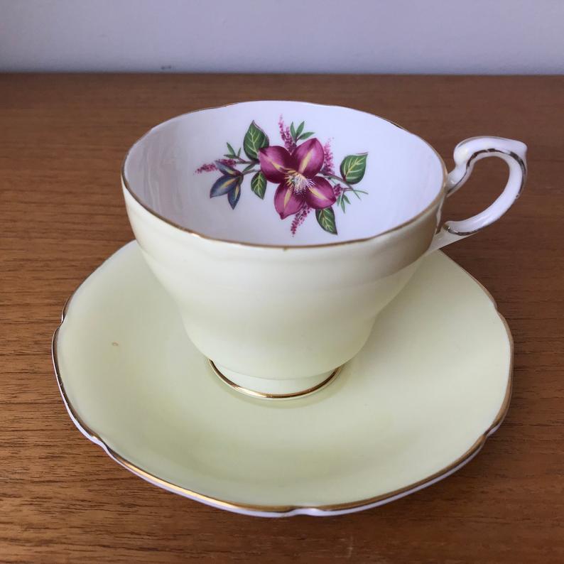Pastel Yellow Paragon Tea Cup and Saucer, English China Floral Teacup and Saucer