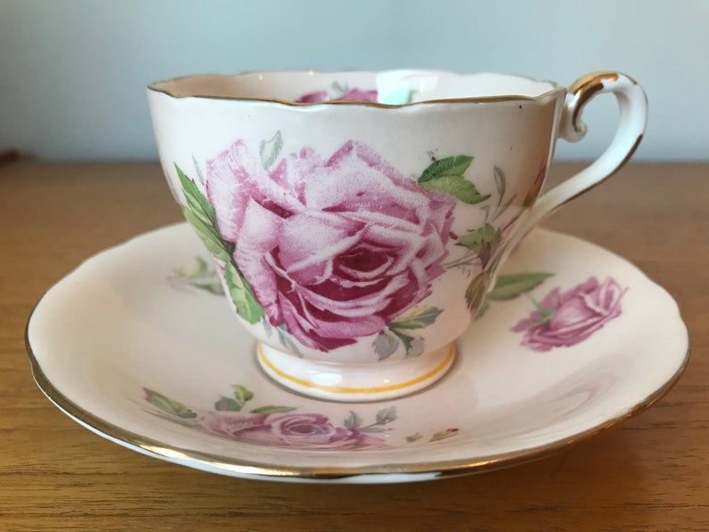 Peach Aynsley Vintage Teacup and Saucer, Large Pink Cabbage Rose Teacup and Saucer, Bone China