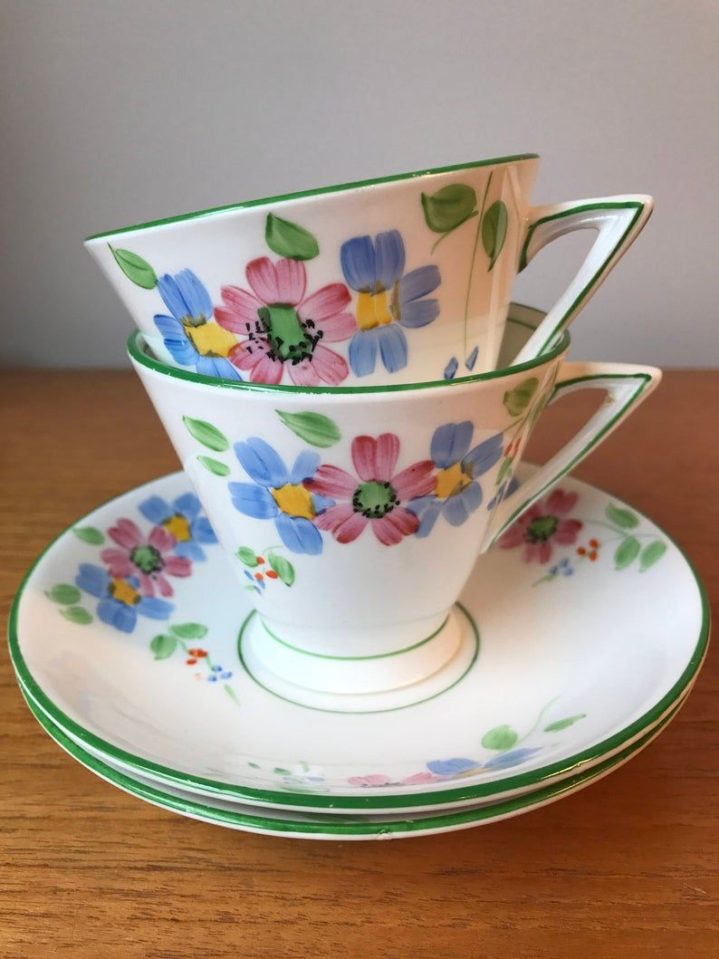 Phoenix China Tea Cups and Saucers, Green Trim, Hand Painted Pink and Blue Flowers Vintage Teacups and Saucers, Bone China, Tea for Two