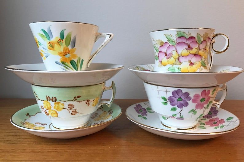 Phoenix Vintage Hand Painted Flower Teacups and Saucers, Mismatched Tea Cups and Saucers, English Floral China Tea Set