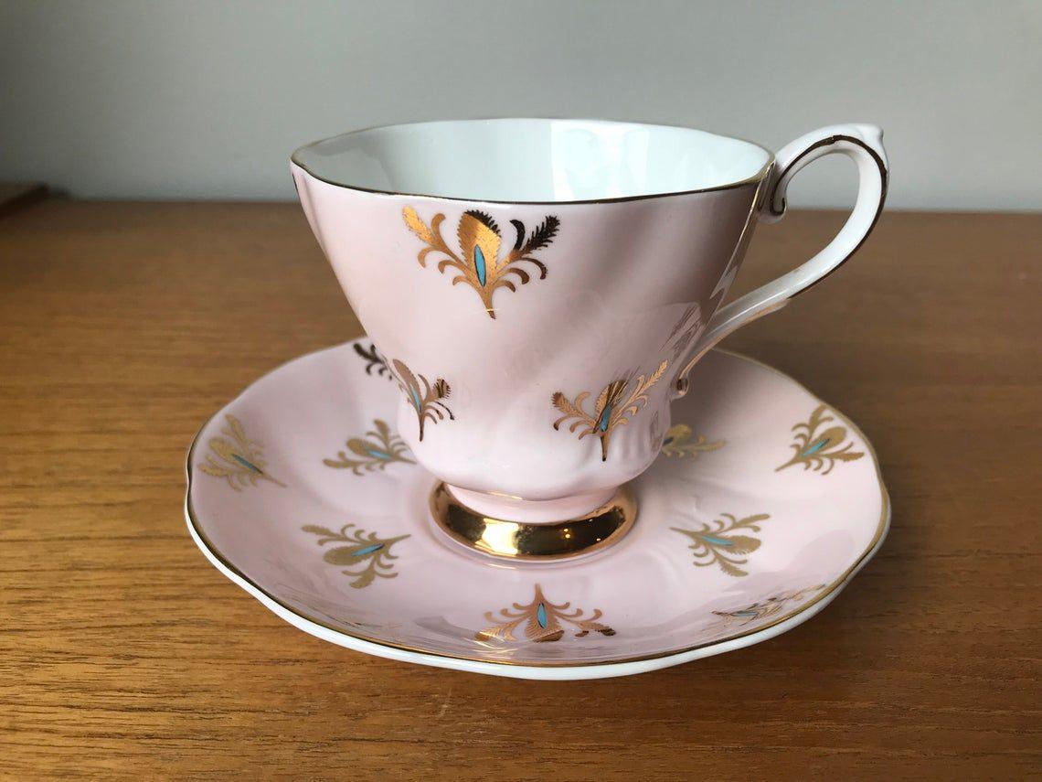 Pink China Tea Cup and Saucer, Royal Grafton Gold Feather Teacup and Saucer, Vintage Bone China, Princess Tea Party