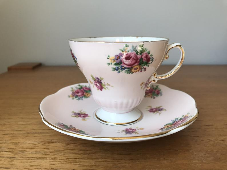 Pink EB Foley Tea Cup and Saucer, Floral English Teacup and Saucer, Vintage Fine Bone China