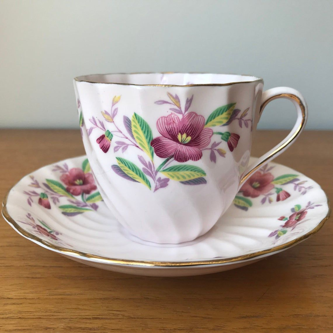 Pink English Tea Cup and Saucer, Tuscan Bone China Floral Teacup and Saucer