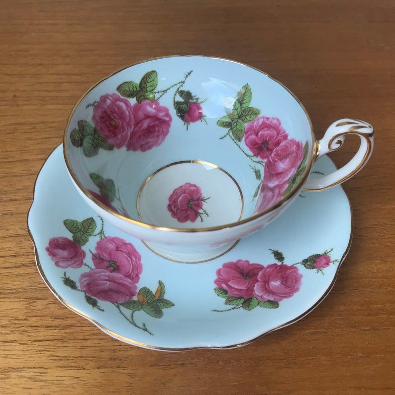 Pink Flower Teacup and Saucer, Pastel Blue EB Foley Tea Cup and Saucer, Bone China Gift for Her