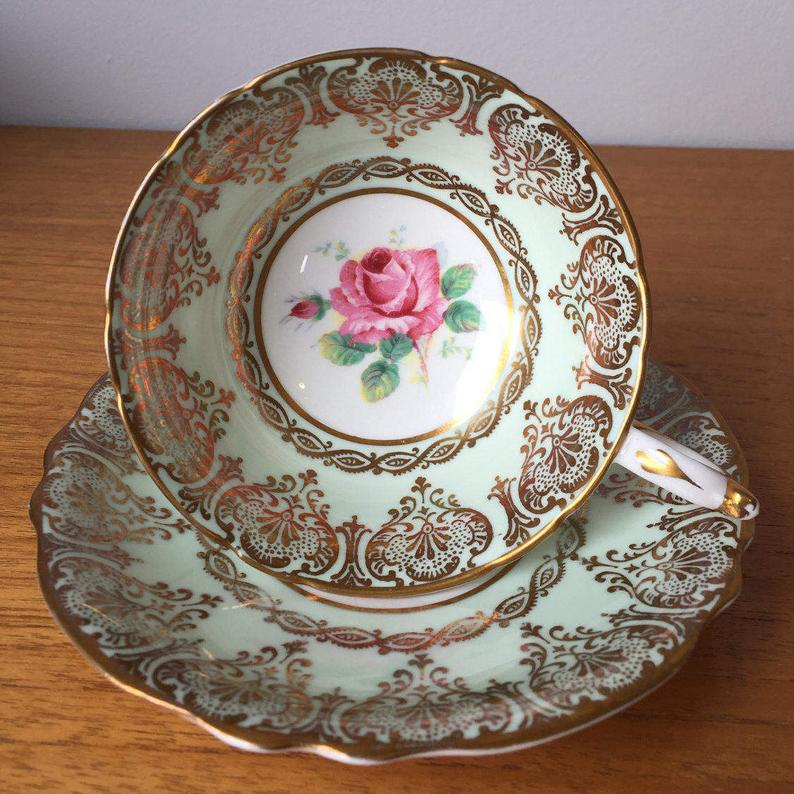 Pink Rose Paragon Mint Green Tea Cup and Saucer, Pastel Green and Gold Teacup and Saucer, Vintage Bone China, Double Warrant, 1940s