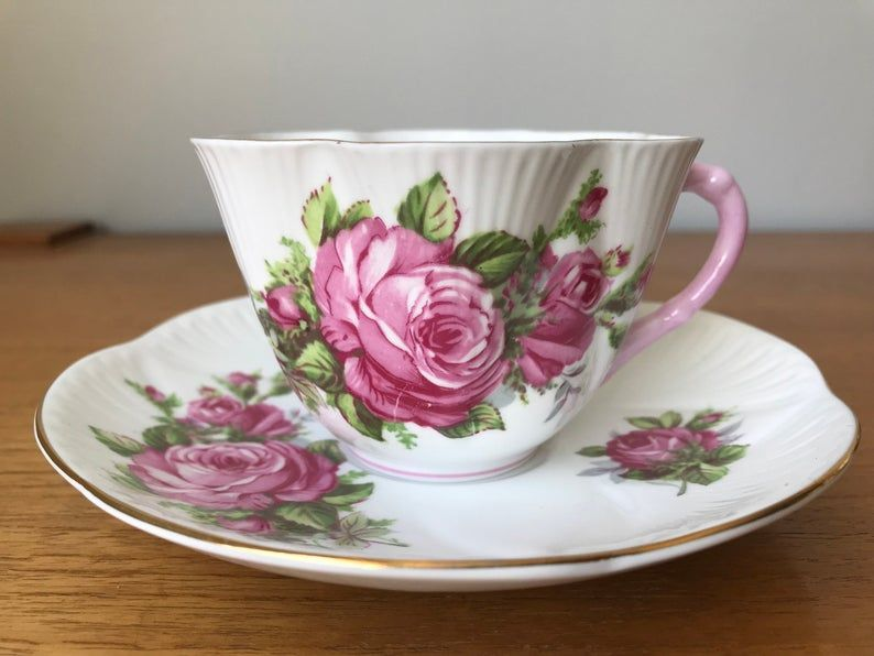 Pink Rose Shelley Teacup and Saucer, Vintage Dainty Shape Tea Cup and Saucer, Floral Bone China