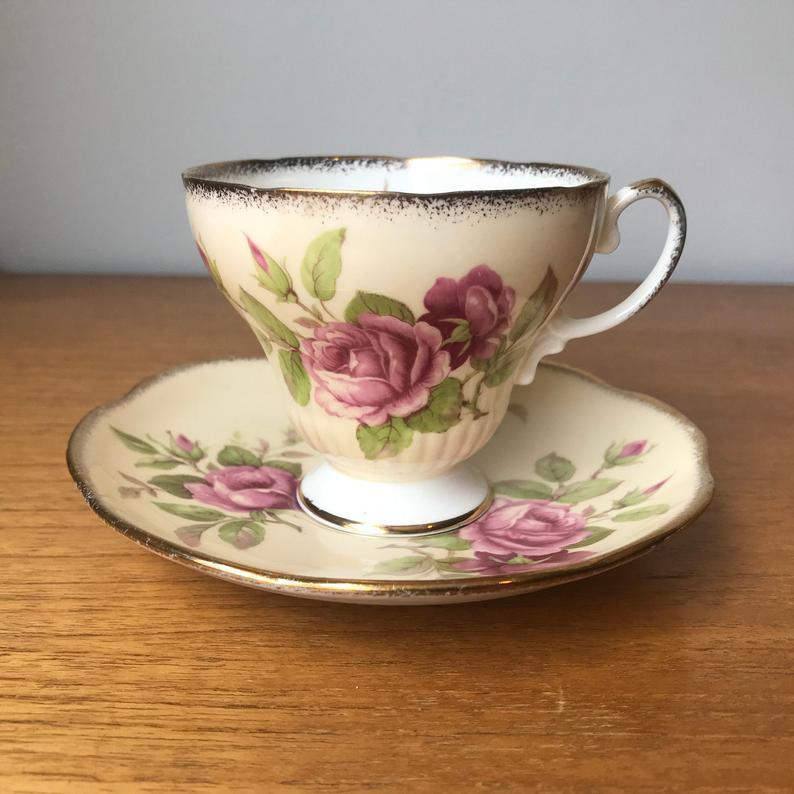 Pink Rose Tea Cup and Saucer, Peach EB Foley Tea Cup and Saucer