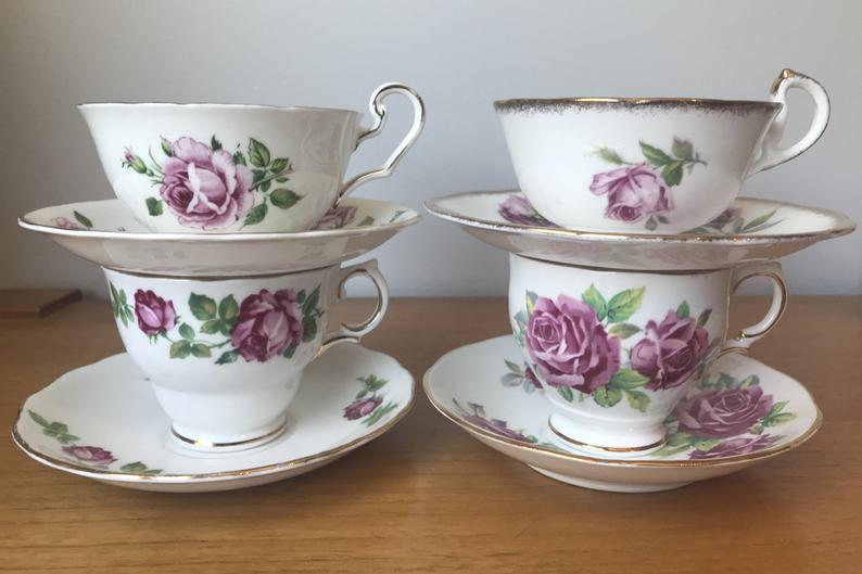 Pink Roses Tea Set, Bone China Tea Cups and Saucers, Vintage English Teacups and Saucers, Victoria C & E Colclough Royal Standard Salisbury