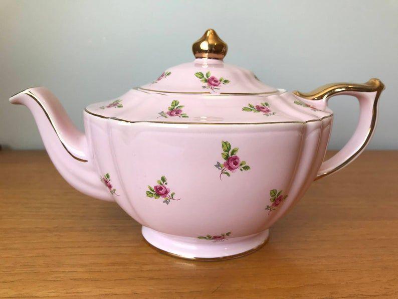 Pink Sadler Teapot with Pink Roses, Vintage Rare English Tea Pot