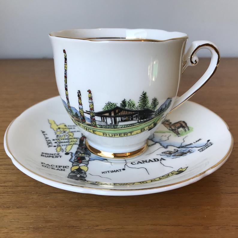 Prince Rupert BC Tea Cup and Saucer, Vintage Royal Grafton China Teacup and Saucer with Totem Poles, Bears, Deer and Fish