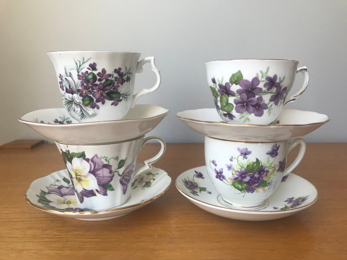 Purple Floral Teacups and Saucers, Violets and Flower Tea Cups and Saucers, Bone China Mismatched Tea Set