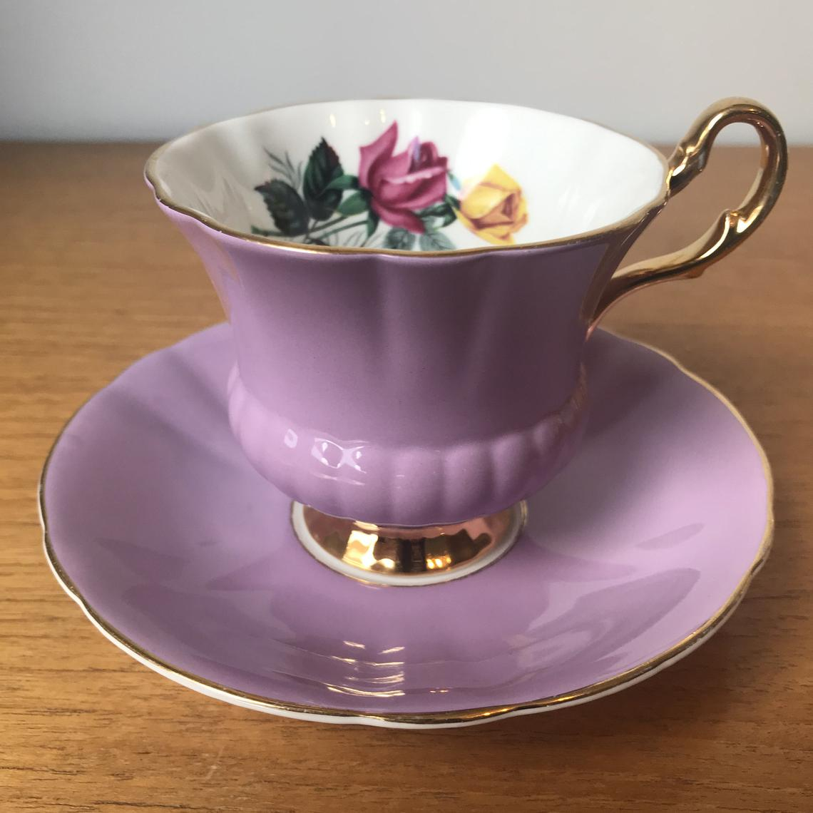 Purple Tea Cup and Saucer, Crown Prince Yellow and Pink Roses China Teacup and Saucer, Vintage Gift