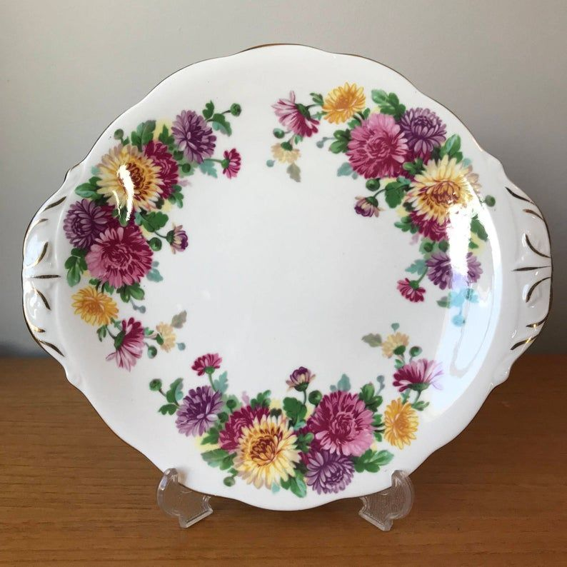 Queen Anne Autumn Glory Cake Plate, Pink Purple Yellow Chrysanthemums Vintage Serving Tray, Bone China