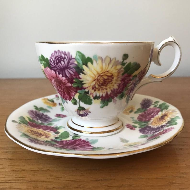 Queen Anne Autumn Glory Vintage Teacup and Saucer, Pink Purple Yellow Chrysanthemums Tea Cup and Saucer, Bone China