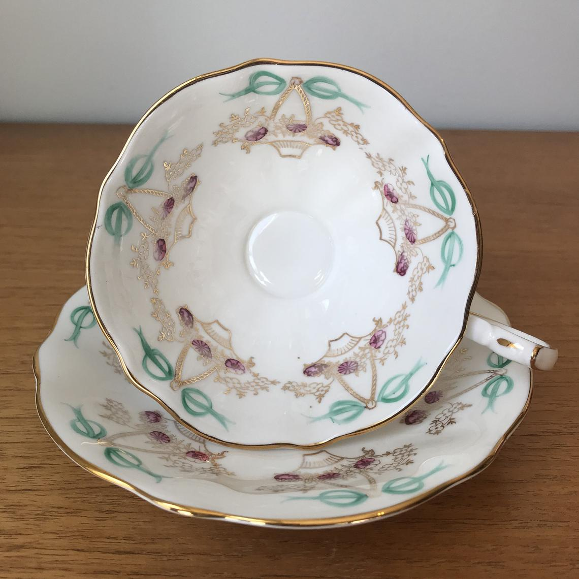 Ribbon Bows Tea Cup and Saucer, Queen Anne Baskets and Bows Teacup and Saucer, Fine Bone China, Vintage