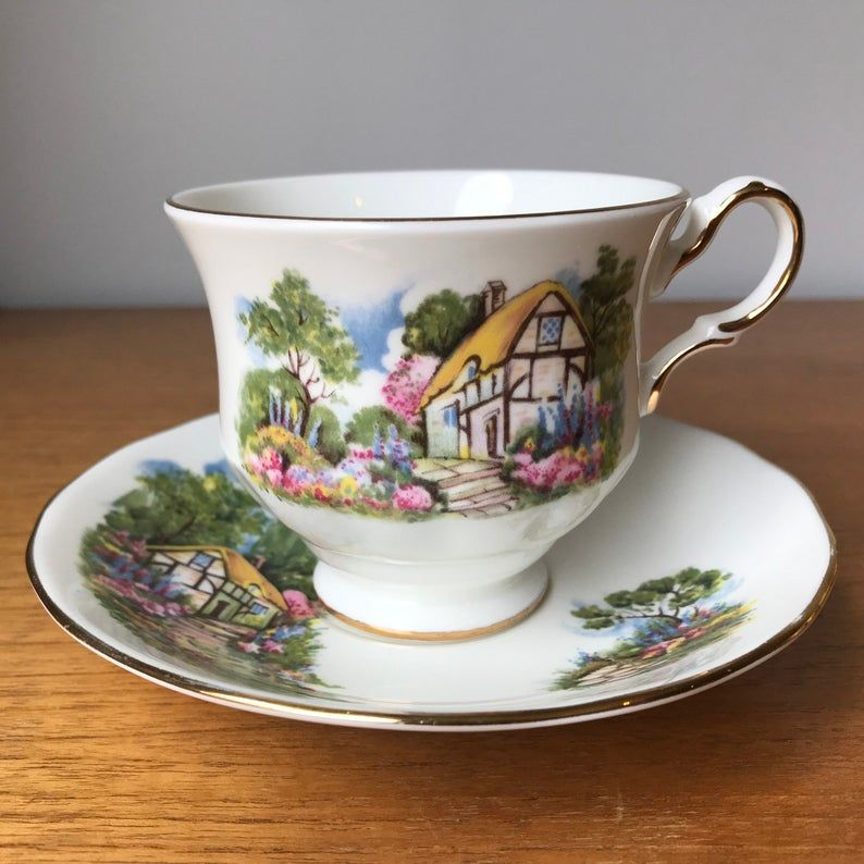 Queen Anne Cottage House Teacup and Saucer, Scenic Country Tea Cup and Saucer