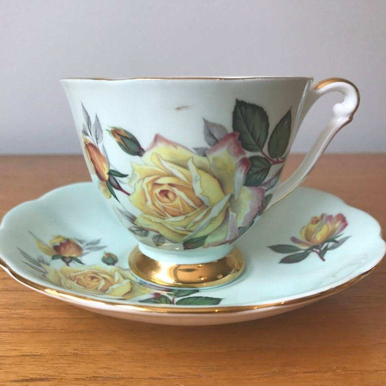 Queen Anne Light Aqua Blue Tea Cup and Saucer, Yellow Rose Teacup and Saucer, Bone China, Vintage Home Decor, Garden Tea Party