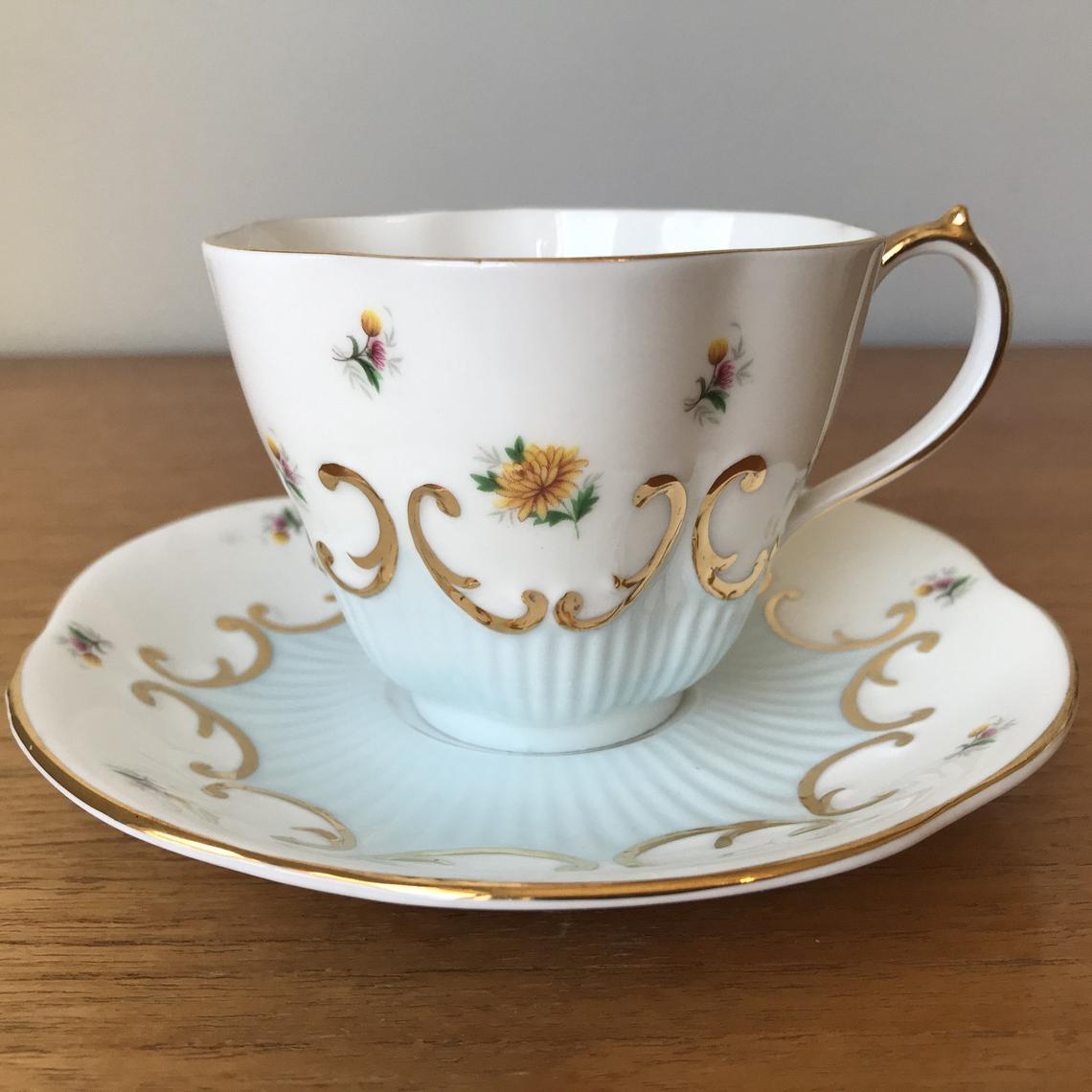 Queen Anne Tea Cup and Saucer, Pale Blue and White Teacup and Saucer with Flowers