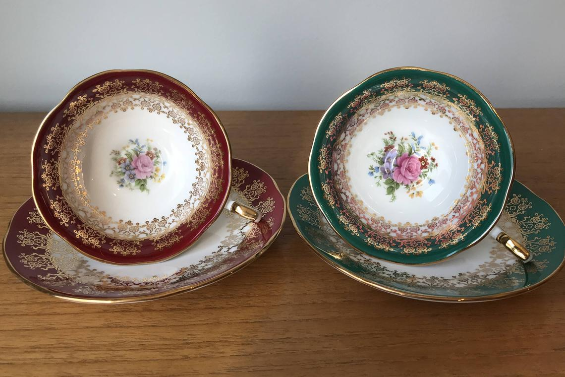 Queens Monarch Vintage Teacups and Saucers, Red and Green Tea Cups and Saucer, Floral Bone China, Christmas Gift, Tea for Two