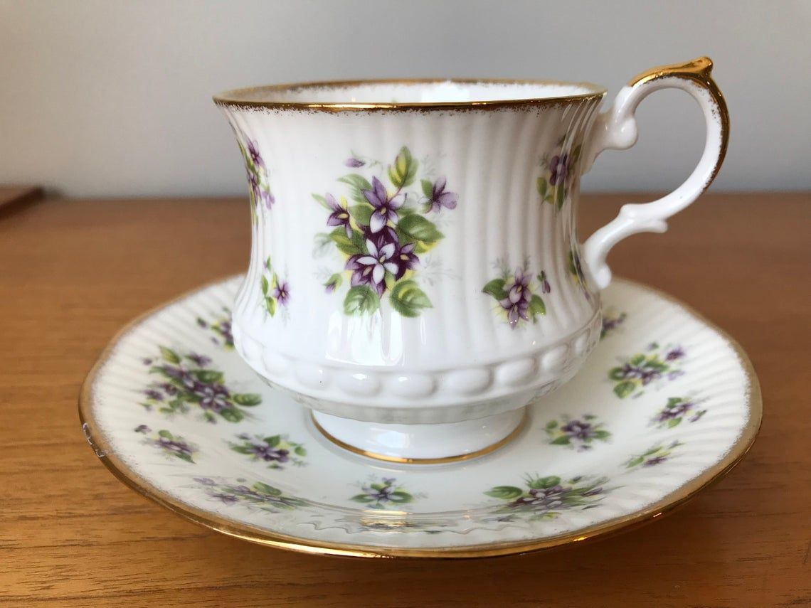 """Queens Purple """"Violet"""" Teacup and Saucer Countryside Series Tea Cup and Saucer, Vintage Bone China"""